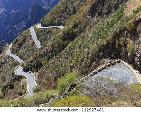 Mountain winding road leading to the village of Masca, Tenerife, Spain