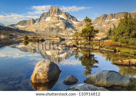 Mountain with rocks and lakes