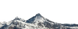 Mountain with snow isolated on white background