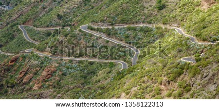 Mountain zigzag road in Tenerife island near Masca #1358122313