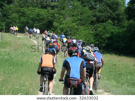 Mountainbike maraton competition in a hills area