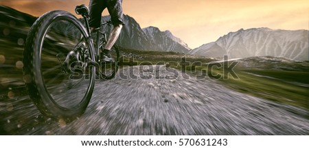 Mountainbiker goes uphill
