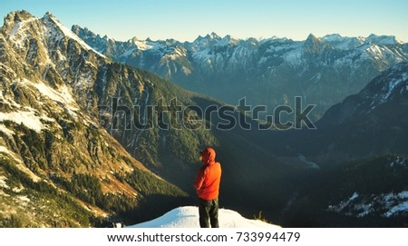 Mountaineer looking into the wilderness.  #733994479