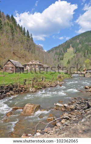 Mountainous landscape and mountainous river.Carpathian.