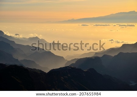 Mountainous landscape from the summit of Gran canaria island at sunset