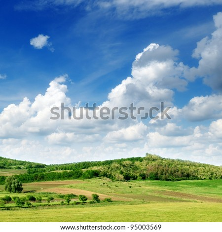 Mountainous terrain and the blue sky
