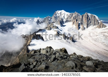 Mountains alps range ridge summits peaks landscape glacier alpine view, beautiful Mont Blanc massif nature travel, tourism Europe.