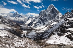 Mountains Ama Dablam, Cholatse, Tabuche Peak. Trek to Everest base camp. Himalayas. Nepal