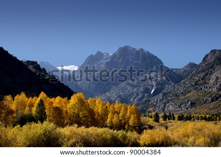 Mountains and aspens, June Lake Loop, Fall, Eastern Sierra Nevada, California