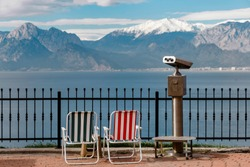 Mountains and binoculars to watch the landscape of Antalya in Turkey