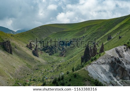 Mountains and cliffs of the North Caucasus, Teeth of the devil. The tract of Gily-Su, the Republic of Kabardino-Balkaria, Russia. #1163388316