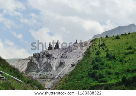 Mountains and cliffs of the North Caucasus, Teeth of the devil. The tract of Gily-Su, the Republic of Kabardino-Balkaria, Russia. #1163388322