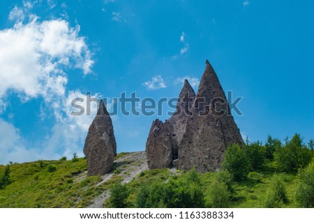 Mountains and cliffs of the North Caucasus, Teeth of the devil. The tract of Gily-Su, the Republic of Kabardino-Balkaria, Russia. #1163388334