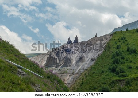 Mountains and cliffs of the North Caucasus, Teeth of the devil. The tract of Gily-Su, the Republic of Kabardino-Balkaria, Russia. #1163388337