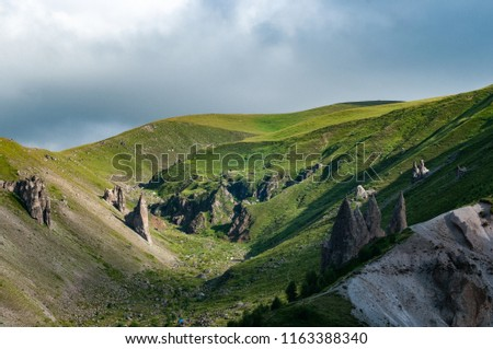 Mountains and cliffs of the North Caucasus, Teeth of the devil. The tract of Gily-Su, the Republic of Kabardino-Balkaria, Russia. #1163388340
