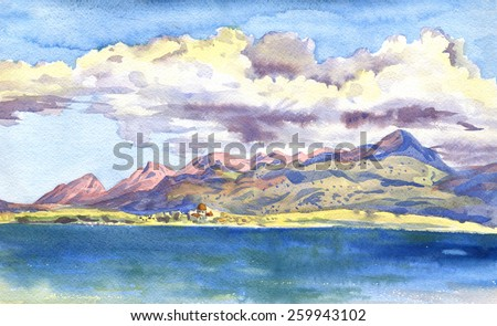 Mountains and clouds. City by the sea. The paintings. Watercolor