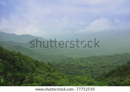 Mountains and clouds in the rainforest of Monteverde, Costa Rica