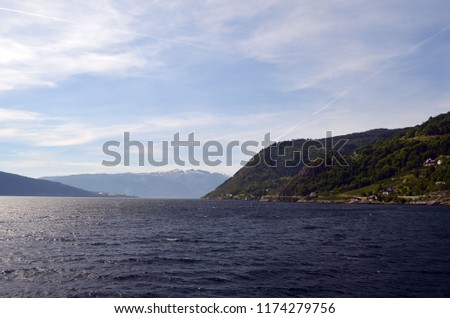 Mountains and fjord. Norwegian nature. Sognefjord. Flam, Norway #1174279756