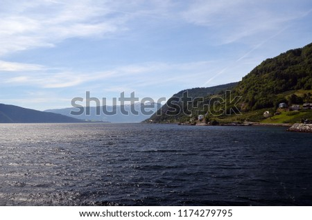 Mountains and fjord. Norwegian nature. Sognefjord. Flam, Norway #1174279795