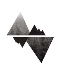 Mountains and forest, polygonal forest landscape background.