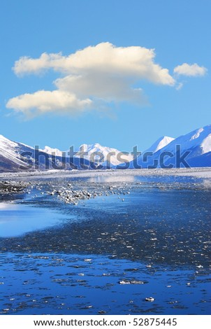 Mountains and frozen ocean in winter at Turnagain Arm Alaska