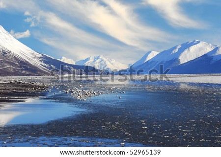 Mountains and Frozen Sea of Turnagain Arm Alaska