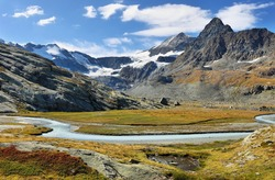 Mountains and Glacier du Grand Mean above the cirque des Evettes in the vanoise national park, french alps