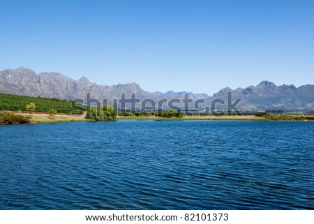 Mountains and lake in a wine region of South Africa