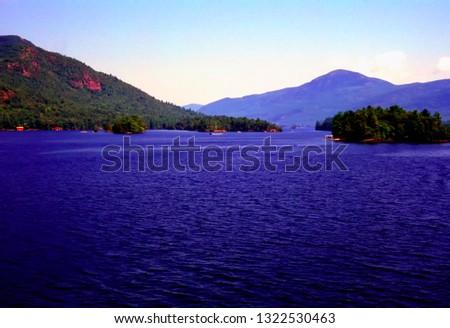 Mountains and Lake, Lake George, Adirondack Mountains, New York, USA,