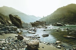Mountains and river Ganga. Rishikesh
