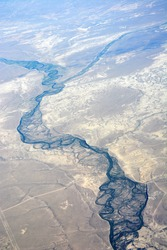 Mountains and rivers from the airpalne. America, Salt Lake city region