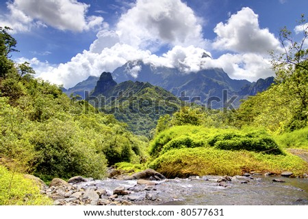 Mountains and valley of Tahiti