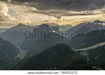 Mountains around Mangart in summer 2017 #740952172