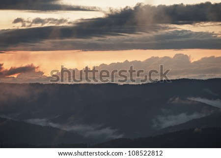 Mountains at the sunset, Czech Republic