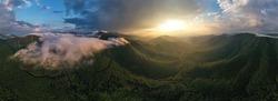 Mountains background, foggy sunrise near Florina, Greece
