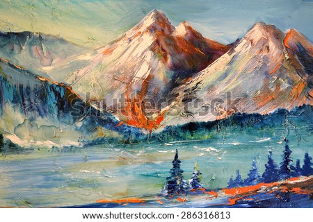 Mountains, Canyon. Mountain peak, ridge, a mountain pass, contemporary art, landscape. Modern abstract painting. Oil on canvas