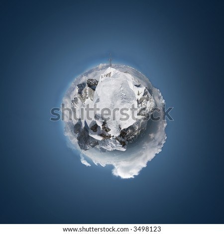 """mountains - extreme panoramic - """"planetoid"""". (from the summit of Dachstein)"""