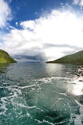 Mountains framing the entrance to Tagus Cove, Isabela Island, Galapagos, Ecuador, taken with a fisheye lens