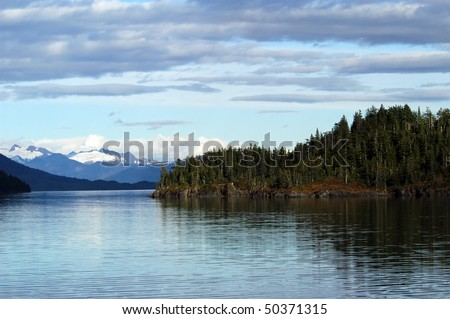 Mountains, glaciers, forests in Prince William Sound, Alaska