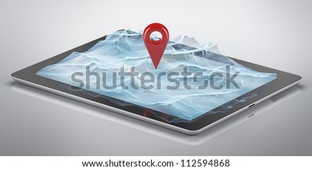 Mountains hologram  on the tablet computer