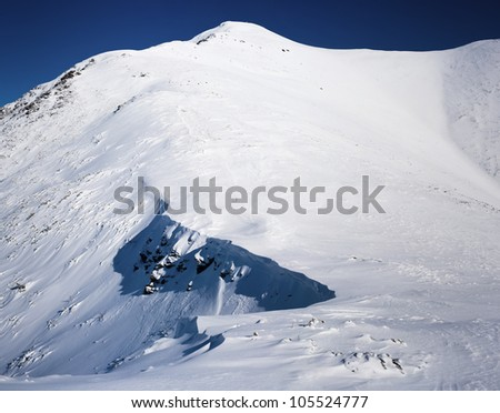 Mountains in a sunny day in the end of winter