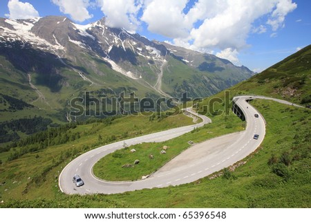 Mountains in Austria. Hohe Tauern National Park, Glocknergruppe range of mountains. Hochalpenstrasse - famous mountain road.