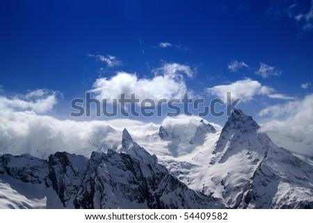 Mountains in cloud. Caucasus. Dombai. Belalakaya, Sofrudzhu.