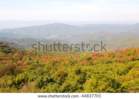 mountains in fall colors - stock photo