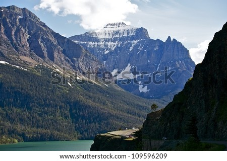 Mountains in Montana and Saint Mary Lake - Glacier National Park, Montana, U.S.A. Mountains Scenery. Nature Photo Collection.