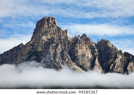 Mountains in the alps with clouds