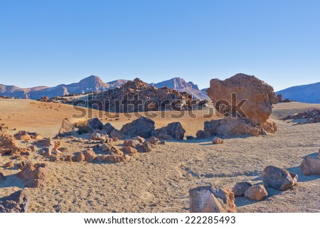 Mountains in the Canary Islands. Teide volcano and rocky desolate landscapes #222285493