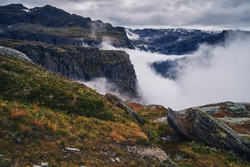 Mountains in the clouds. Norway.