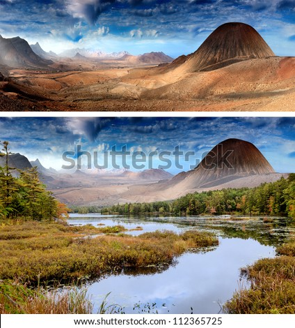 Mountains in the desert and mountains with forest landscape