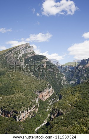 mountains in the pyrenees, with blue sky